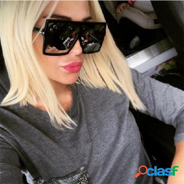 Gafas de sol de gran tamaño para las mujeres gafas de sol de la vendimia del diseñador de marca hombres gafas de gran marco para mujeres con múltiples colores negro