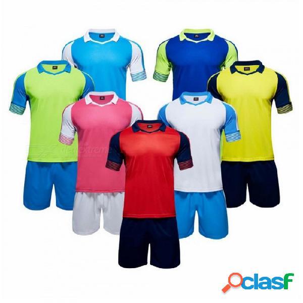 Uniformes de fútbol del equipo de color de contraste, equipo de fútbol de camisetas de fútbol, conjunto deportivo de entrenamiento de fútbol para hombres, mujeres, azul / m