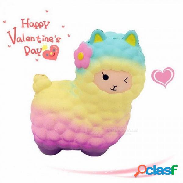 17 cm arco iris alpaca squishy hierba barro caballo lindo regalo de los niños juguete de dibujos animados alivia el estrés ansiedad gracioso lento aumento multicolor