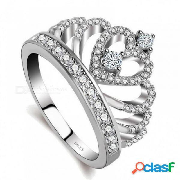 Amantes románticos anillo de la corona aaaaa zircon cz 925 anillo de bodas de compromiso de plata esterlina anillo de compromiso para las mujeres 5