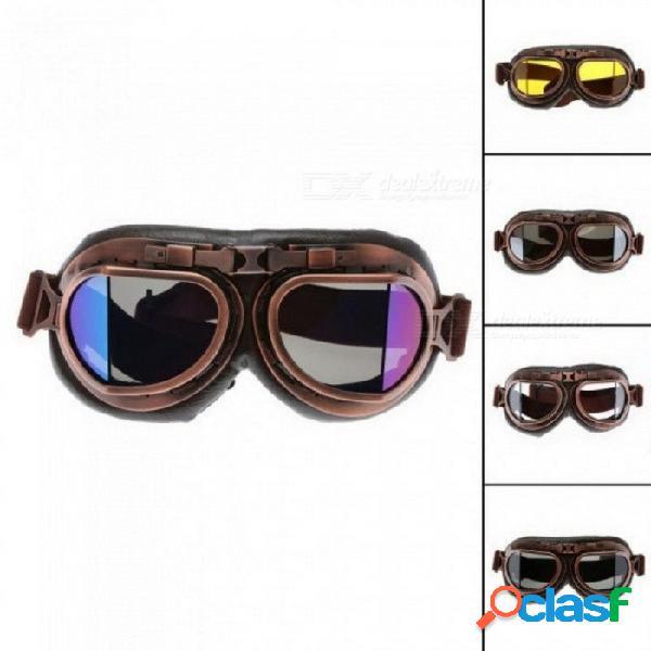 Gafas de motocicleta gafas retro aviador piloto de crucero steampunk atv bicicleta protección uv lente de cobre marrón