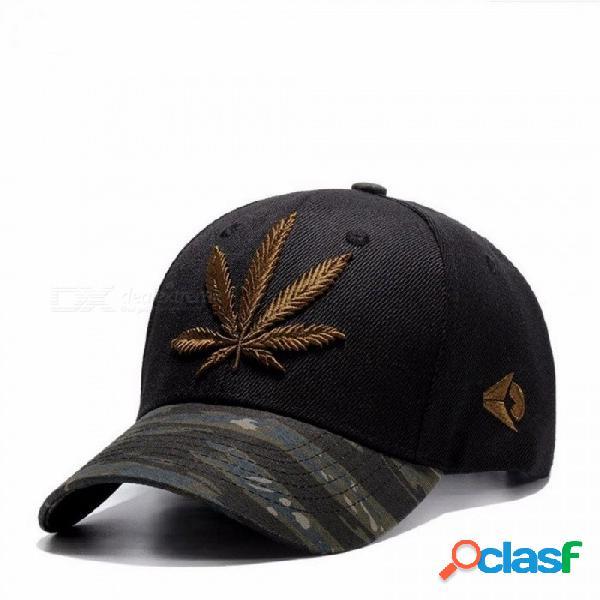 Hoja de cáñamo bordado ajustable snapback sombrero doble ala sombrero gorra de béisbol gorra de pico hip hop gorras para hombres mujeres regalo negro / ajustable