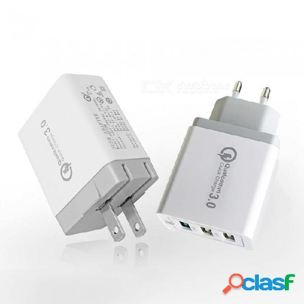 Qc3.0 adaptador de alimentación de cargador inteligente usb de 3 puertos de carga rápida, plegable de 9 v / cabezal de carga usb de 12 v 3 para uso doméstico o de viaje reino unido enchufe /