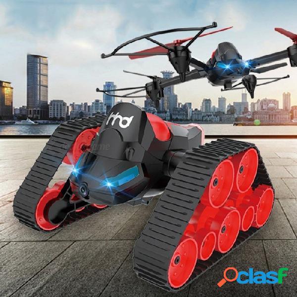 Rc video tank bounce car, wi-fi fpv diy 3 en 1 sin cabeza modelo de deformación aérea rc drone tank saltar coche de juguete negro