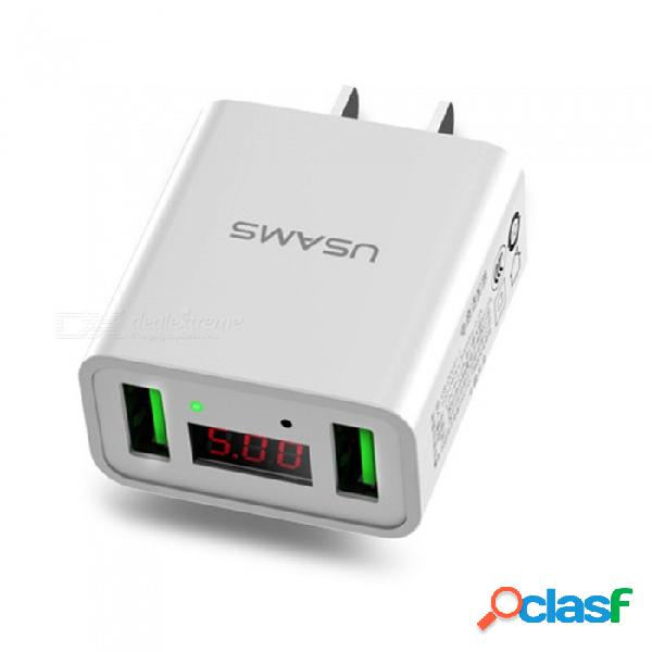 Cargador de teléfono usb doble usb de usams, cargador móvil de pared de carga rápida máx. 2.2a con pantalla led para iphone, ipad, ue, blanco