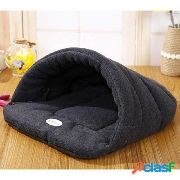 Mascota gato cama perro pequeño perrito cama perrera sofá polar polar material cama mascota estera gato casa gato saco de dormir cálido nido negro
