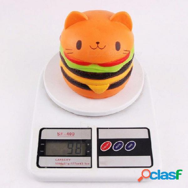 Peradix levemente lento gato cabeza hamburguesa squishy dibujos animados juguete simulación divertido suave lindo niños alivia estrés ansiedad gracioso multicolor