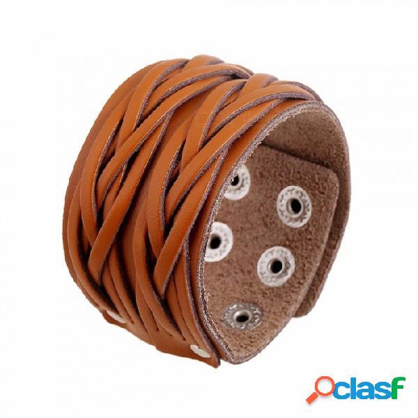 Pulsera de cuero única de la nueva moda, pulsera cruzada de múltiples capas retra del ocio del ocio para los hombres