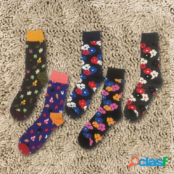 5 pares de hojas con estilo sakura imprimir calcetines multicolores para hombre, calcetines ocasionales de algodón para hombre color de contraste múltiple