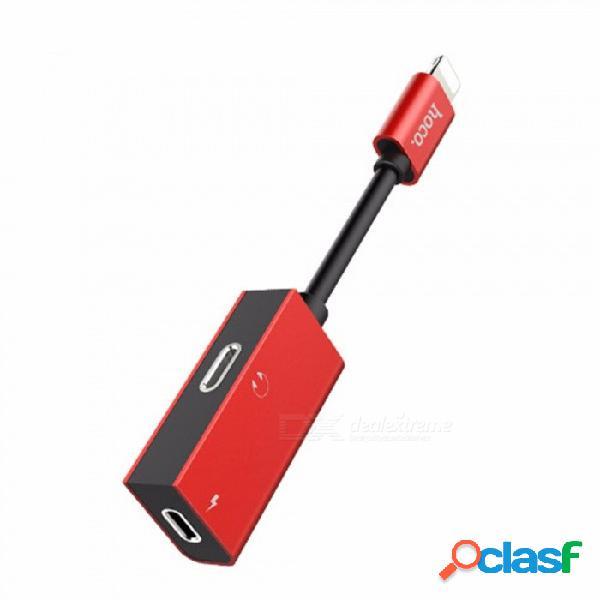 Adaptador de rayos hoco ls15 cable doble conectores de audio cable de carga para iphone 8 / iphone x