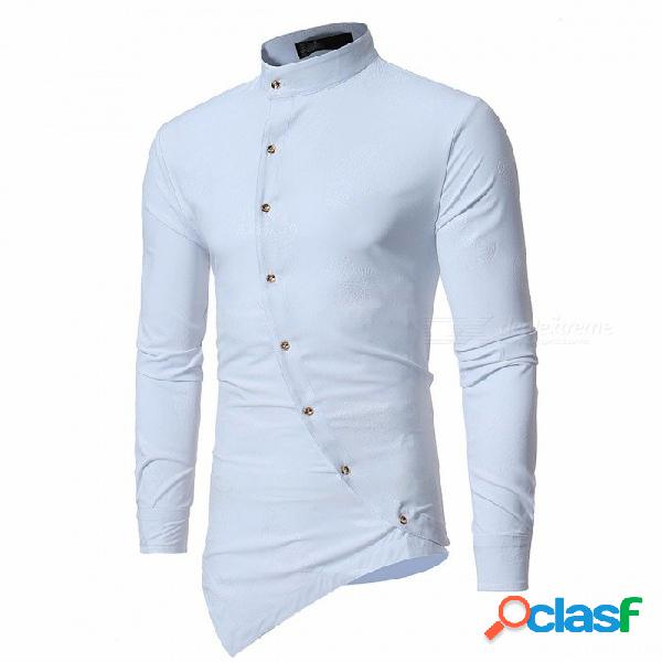 Camisa de manga larga de dobladillo irregular de moda, camisa casual de color sólido de cuello alto para hombre negro / s