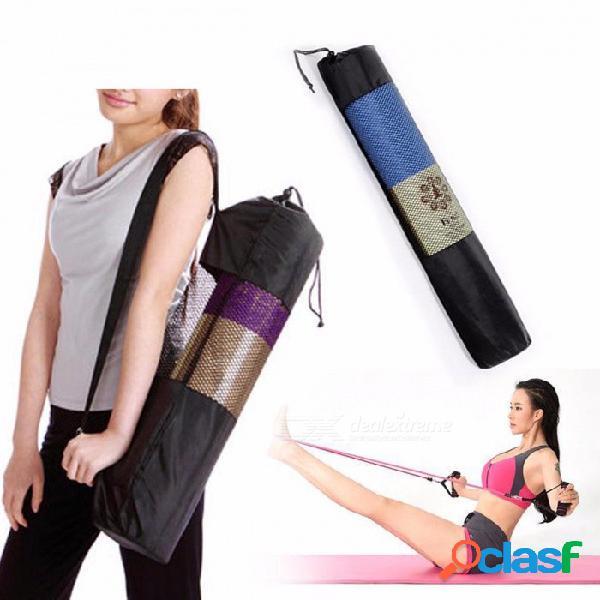 Nueva mochila impermeable conveniente del bolso del almacenamiento de la estera de la yoga, transportista de pilates de nylon con diseño de la malla, correa ajustable negra