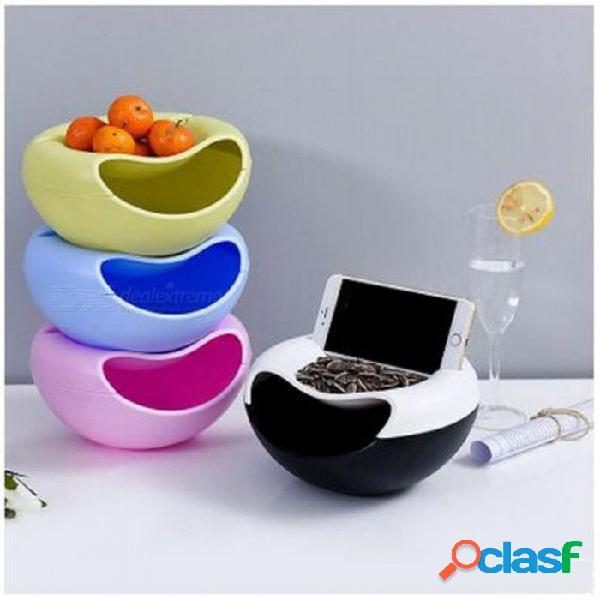 Plástico multifuncional, doble capa, contenedores de fruta seca, aperitivos, semillas, caja de almacenamiento, contenedor de basura, escritorios, placa, organizador de platos