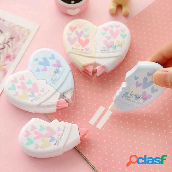 Amor material de cinta de corrección del corazón escolar kawaii papelería oficina suministros escolares con 10 m 2 unids / par 2 unids / par