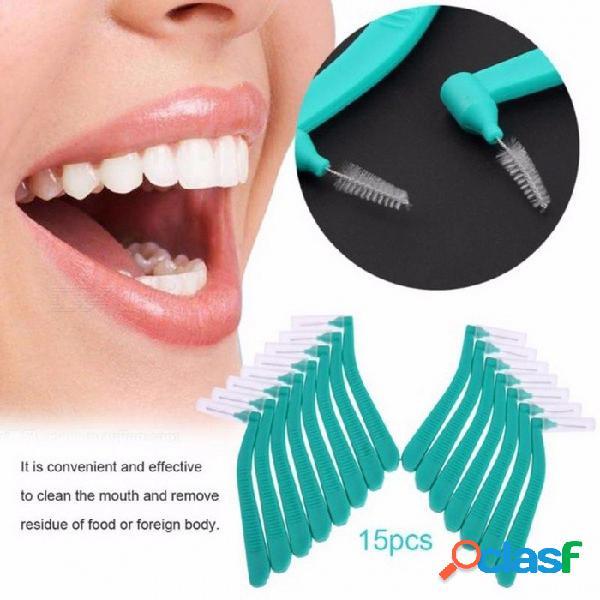 Cepillo interdental en forma de l hilo dental limpiadores interdentales cepillo de alambre de ortodoncia cepillo de dientes cuidado bucal de dientes multi-color
