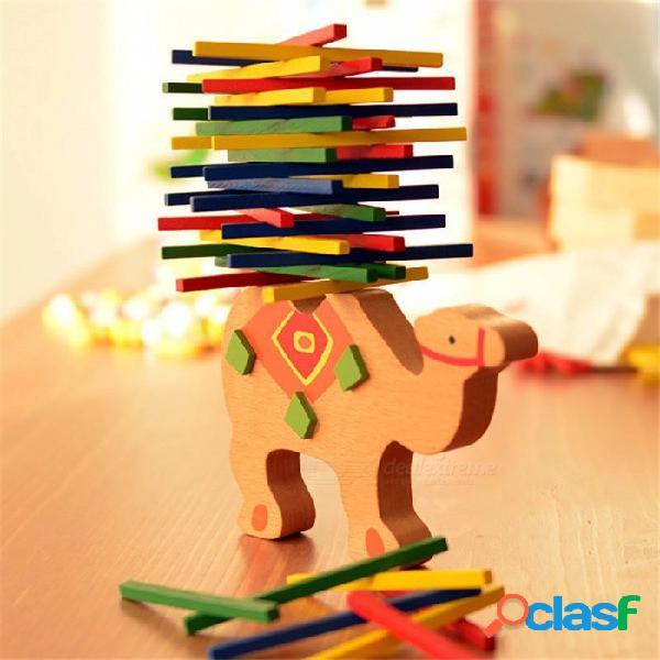 Juguete de madera de bloques de equilibrio educativo para niños, juego de balanza de madera de haya montessori bloques de regalo para niños, niños, bebés