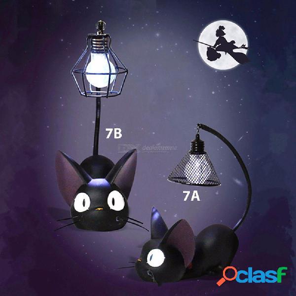 Luz nocturna de led creativo resina animal gato adornos decoración para el hogar lámpara para niños regalo