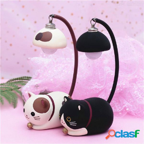 Luz nocturna de led creativo resina gato adornos animales decoración de la casa lámpara para niños regalo de los niños