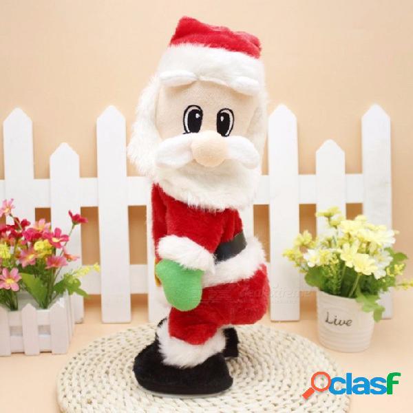Navidad eléctrico santa claus juguetes sacudida dinámica música de la cadera muñeca eléctrica juguetes decoraciones de navidad regalos rojo