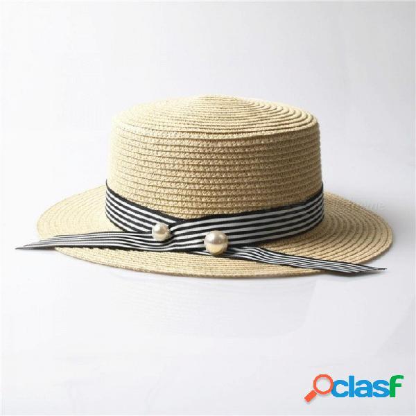 Señora boater gorras de sol cinta redonda plana sombrero de paja de playa sombrero de panamá sombreros de verano para mujeres multicolor opcional beige