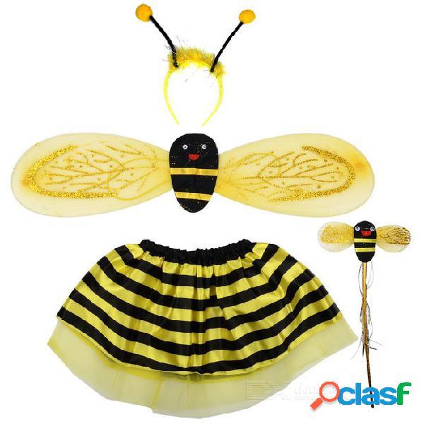 Traje de víspera de todos los santos traje de la falda de la abeja + alas + venda + sistema del palillo - amarillo + negro
