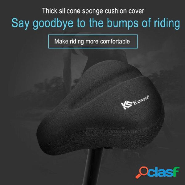 Universal 3d almohadilla de gel de silicona suave y gruesa cubierta de sillín de bicicleta ciclismo asiento cojín bicicleta montar asiento sentado protector negro