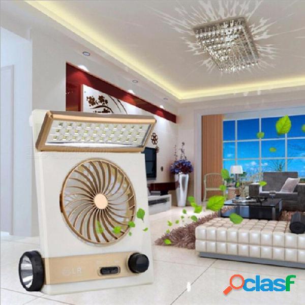 4 en 1 solar portátil 220v de carga eléctrica ventilador 1200ma batería recargable ventilador 5v mini multifuncional led lámpara flash oro / cn