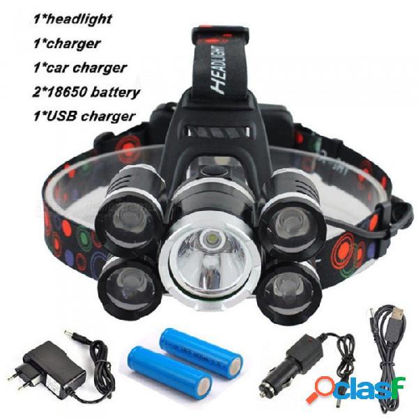 Aibber tone 40000 lumen faro, 5 cree xml t6 + q5 led lámpara de cabeza linterna antorcha lanterna con batería, cargador ac / dc