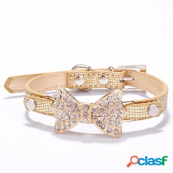 Arco rhinestone pu collares de perro suministros para mascotas diamante artificial bowknot correas de perro collar - oro