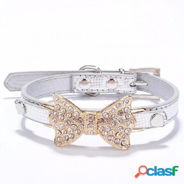 Arco rhinestone pu collares de perro suministros para mascotas diamante artificial bowknot correas de perro collar - plata