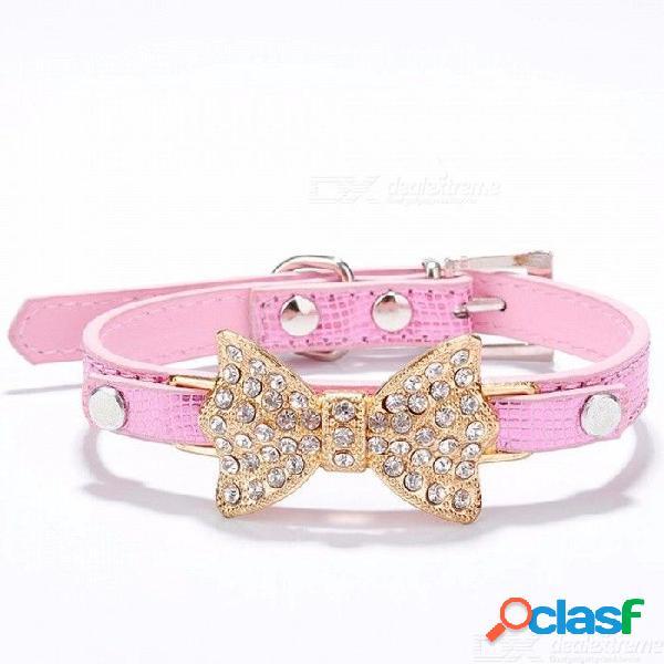 Arco rhinestone pu collares de perro suministros para mascotas diamante artificial bowknot correas de perro collar - rosado