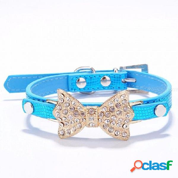 Arco rhinestone pu collares de perro suministros para mascotas diamante artificial bowknot correas de perro collar - azul