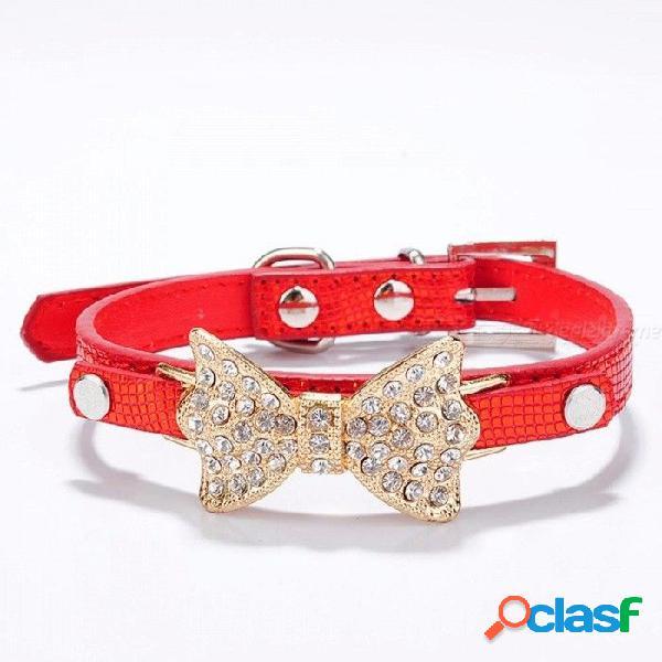 Arco rhinestone pu collares de perro suministros para mascotas diamante artificial bowknot correas de perro collar - rojo