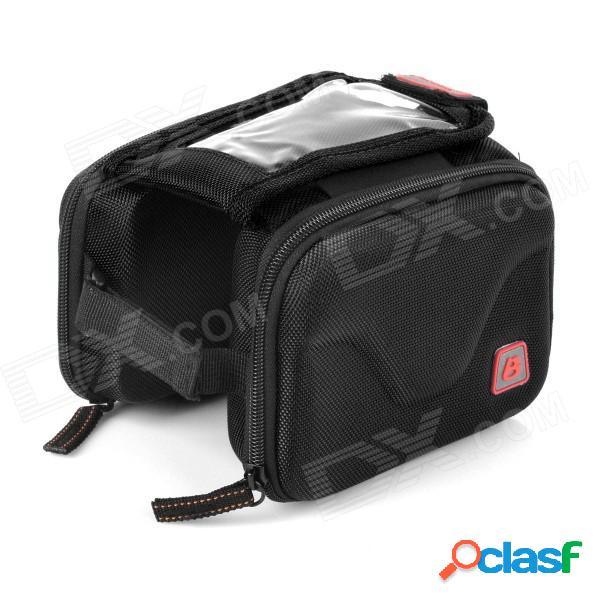 B-soul ya126 para bicicleta tubo superior doble bolsa w / touch case pouch pantalla del teléfono - negro