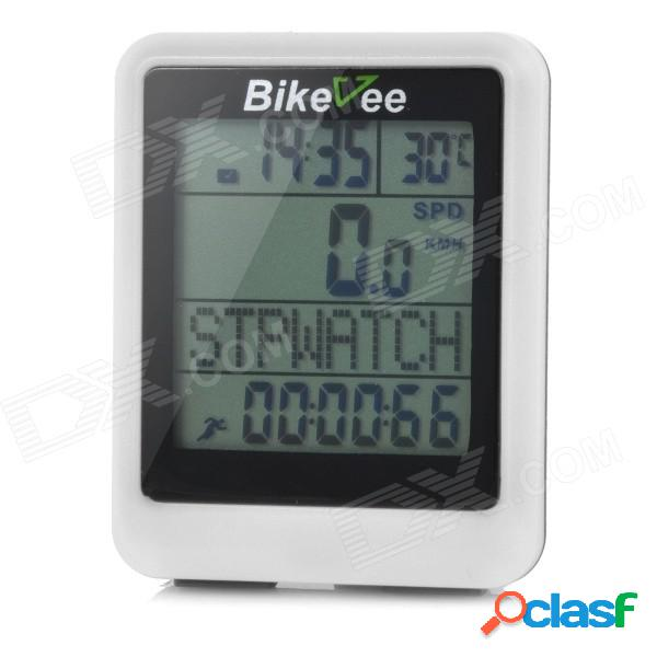 """Bicivee resistente al agua 20 funciones de 1.6 """"pantalla con conexión de computadora electrónica para bicicletas - blanco (1 x cr2032)"""