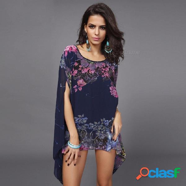 Blusa de verano para mujer yardas grandes bate blusa de mujer fertilizante de manga larga para aumentar la camisa de gasa que fluye azul marino / talla única