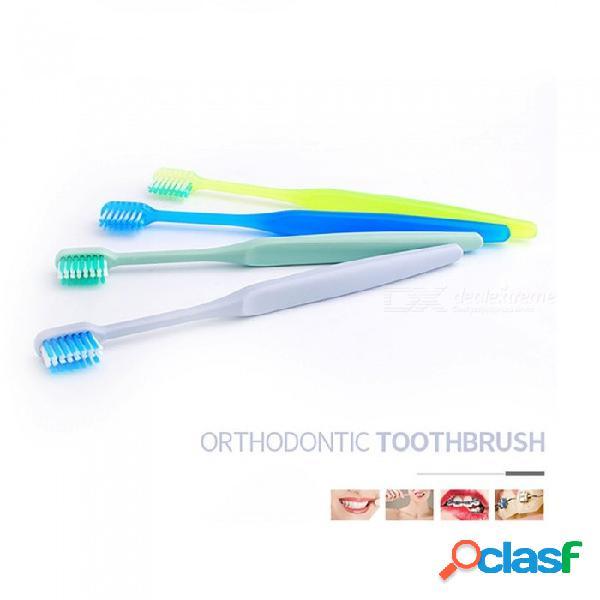 Cepillo de dientes de ortodoncia de cabeza pequeña en forma de u, cepillo de dientes de ortodoncia de cerdas suaves, cepillo de dientes de ortodoncia verde