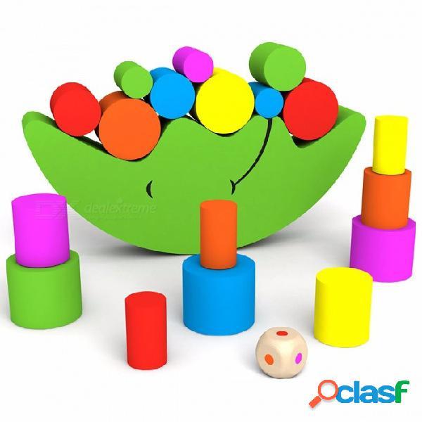Juego de equilibrio de la luna de madera educativo regalo, bloques de construcción de bricolaje colorido juguete para niños bebé niños colorido