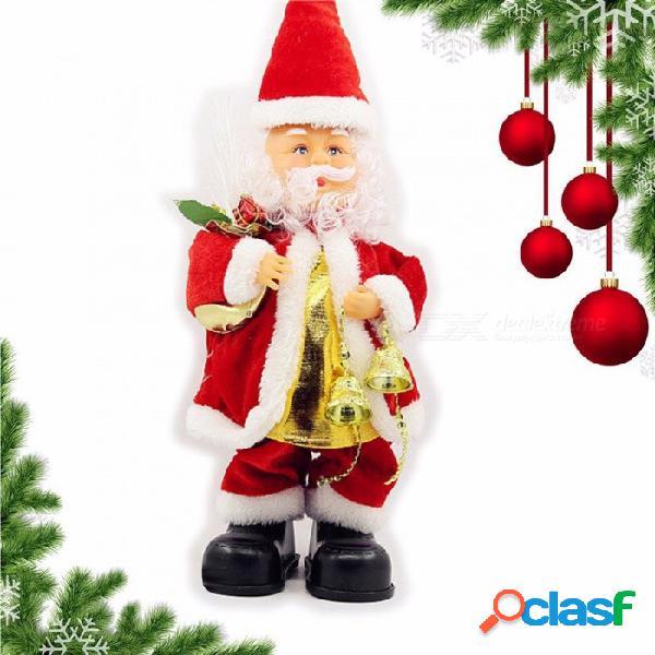 Navidad santa claus bell toys música dinámica muñeca eléctrica juguetes decoraciones de navidad regalos rojo