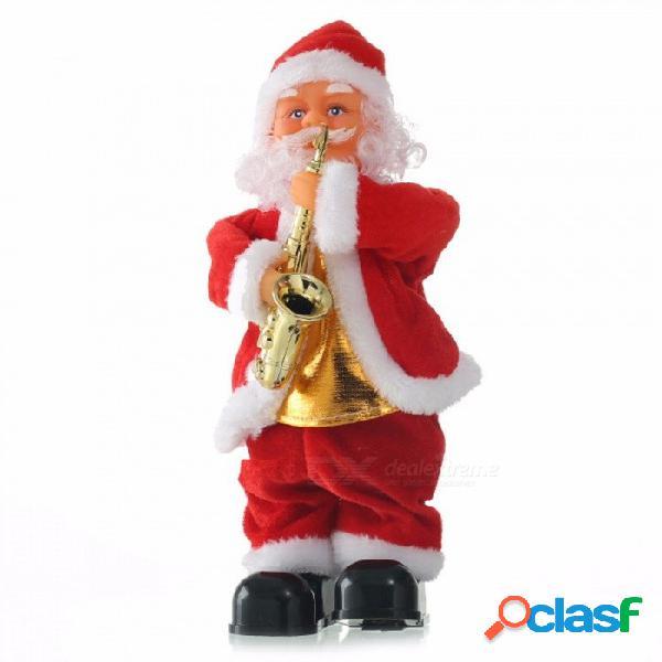 Navidad santa claus jugando instrumentos juguetes música dinámica muñeca eléctrica juguetes decoraciones de navidad regalos rojo