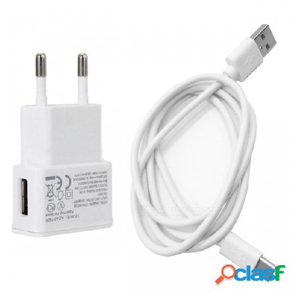 Cargador adaptador de viaje con enchufe de eu / ee. uu. + cable usb 3.1 tipo c a cable usb 2.0, blanco