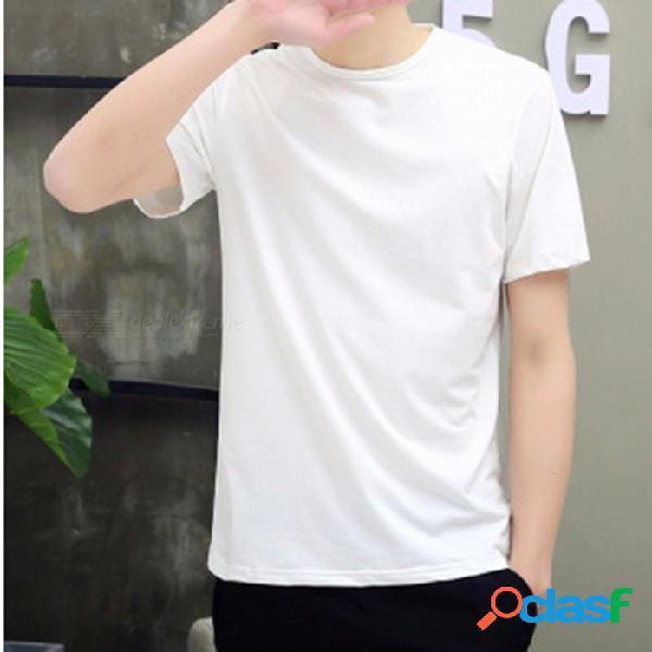 Casual suave y cómoda camiseta de rayón para hombre, cuello redondo, manga corta, camiseta de gran tamaño, camiseta para hombre, blanco