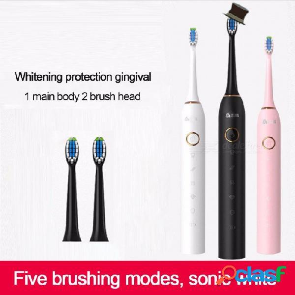 Cepillo de dientes eléctrico sónico recargable del usb con las cabezas de cepillo reemplazables 2pcs, cepillo de dientes automático impermeable de los dientes