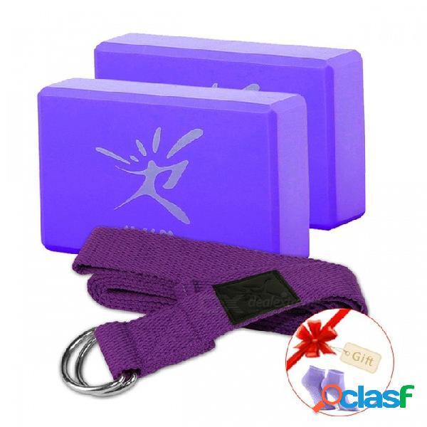 Eva espuma yoga pilates bloque bloque de ladrillo con conjunto de cinturón de estiramiento para entrenamiento de ejercicio entrenamiento físico