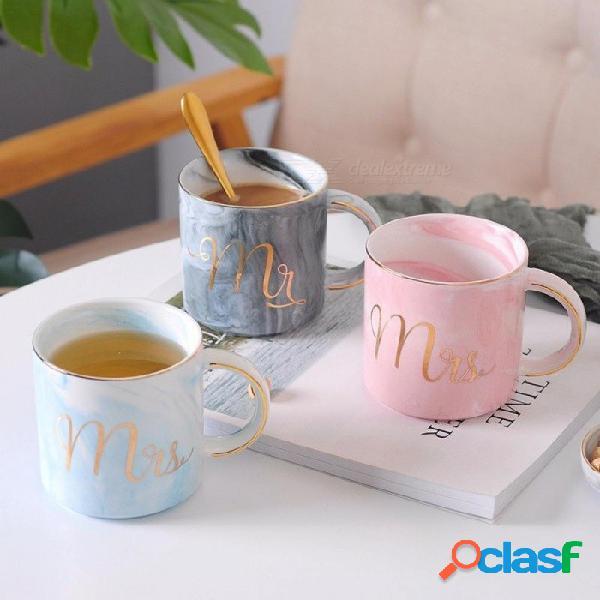 Mármol tazas de cerámica chapado en oro regalo del amante de la mañana taza leche café té desayuno creativo porcelana taza gris