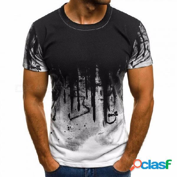 Moda deportiva camiseta verano hombre camisa estampado floral camisa manga corta camiseta para hombres - blanco