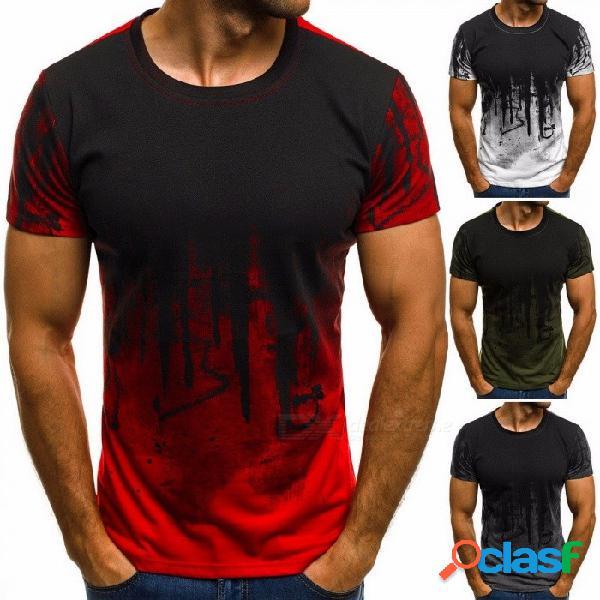 Moda deportiva camiseta verano hombre camisa estampado floral camisa manga corta camiseta para hombres - rojo