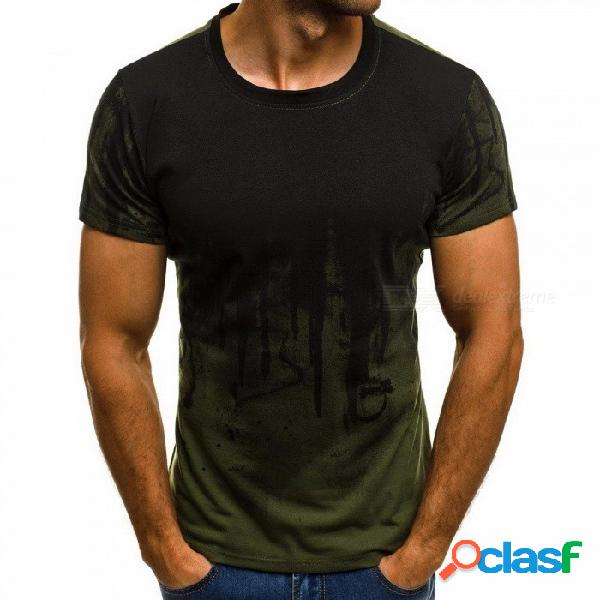 Moda deportiva camiseta verano hombre camisa estampado floral camisa manga corta camiseta para hombres - ejercito verde