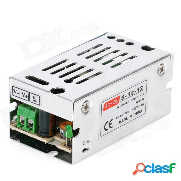 Transformador de fuente de alimentación 12v 1a para bombilla de corriente continua - plateado (ac 100 ~ 220v)