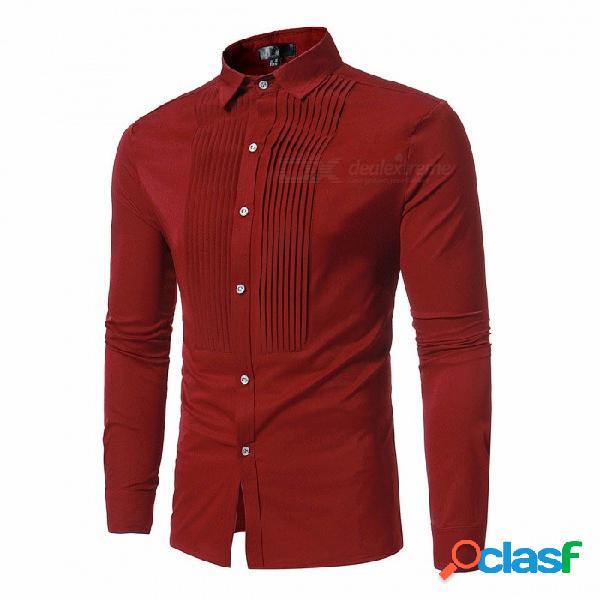 Camisa de manga larga con pliegues frontales de estilo europeo y americano color sólido para hombres negro / s